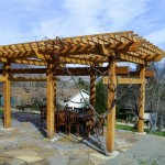 Japanese inspired Western Red Cedar grape arbor in Ashland Oregon.
