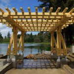 Greene and Greene inspired arbor built of Alaska Yellow Cedar