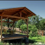 A timber framed pavillion built fro douglas fir