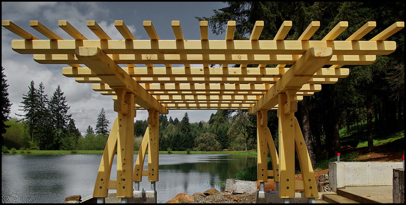 Greene and Greene inspired arbor built of Alaska Yellow Cedar